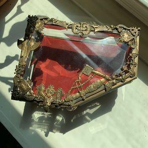 RARE Antique French Ormolu Beveled Crystal Casket